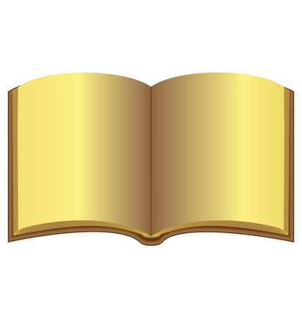 book isolated: Golden open book isolated on white background Illustration