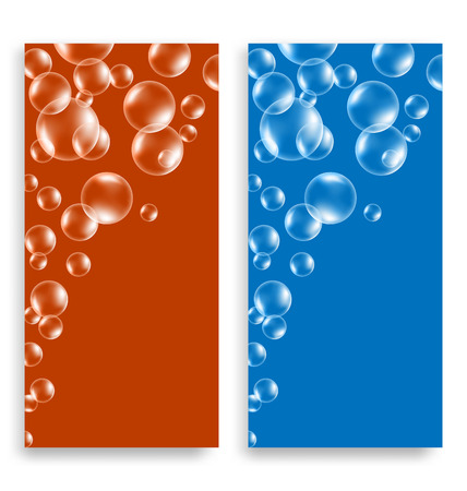 bleb: Two bright multicolored leaflets with soap bubbles and space for text Illustration