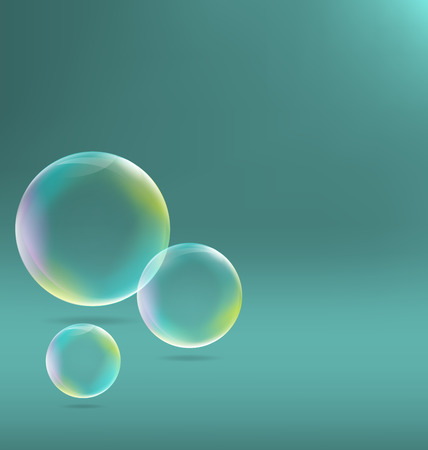 bleb: Three transparent soap bubbles with shadows on cyan background