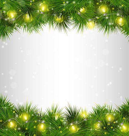 lights background: Yellow Christmas lights on pine branches on grayscale background Illustration