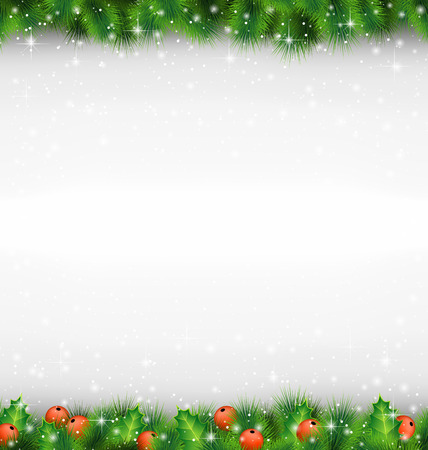 Shiny green pine branches like frame with holly sprigs in snowfall on grayscale background