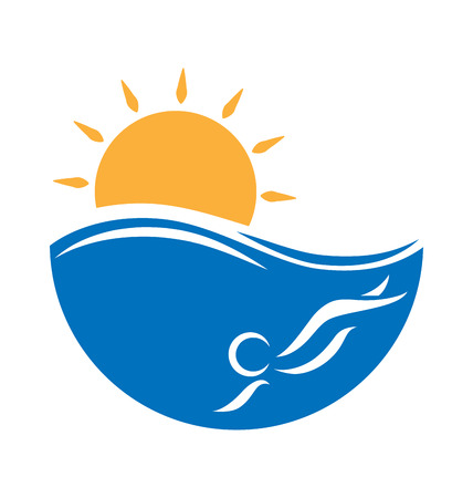 seacoast: Emblem with sea, swimmer and sun isolated on white background