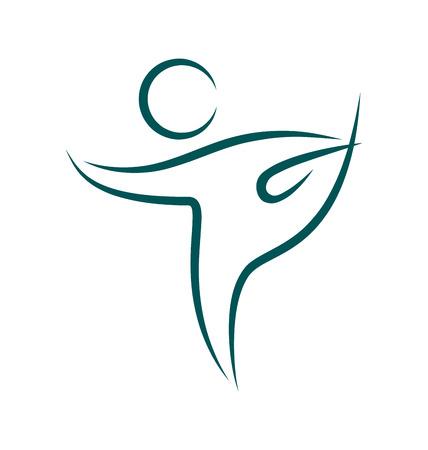 Emblem Yoga pose isolated on white background Çizim