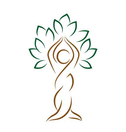 saludable logo: Emblema de la yoga con el �rbol abstracto plantean aislados sobre fondo blanco Vectores