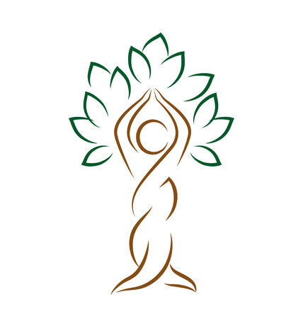 asian trees: Yoga emblem with abstract tree pose isolated on white background