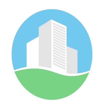 Emblem with buildings in eco place isolated on white background