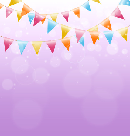 Multicolored bright buntings garlands on pink background