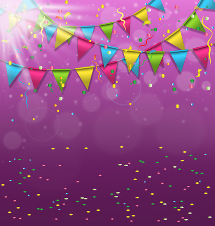 event party festive: Multicolored bright buntings garlands with confetti and light on violet background