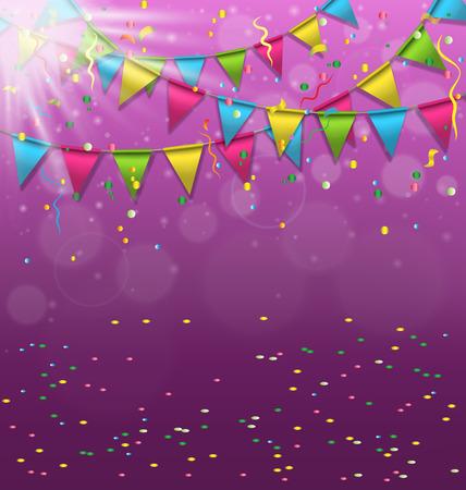 carnaval: Multicolores bruants vives guirlandes avec des confettis et de lumi�re sur fond violet
