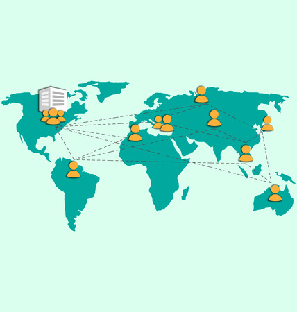 headquarter: Outsourcing image with world map and icons on blue