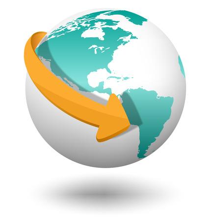 Embleem met witte wereldbol en oranje pijl geïsoleerd op een witte achtergrond