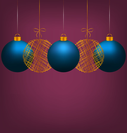 winter grilling: Tree blue and two golden netting Christmas balls on violet background