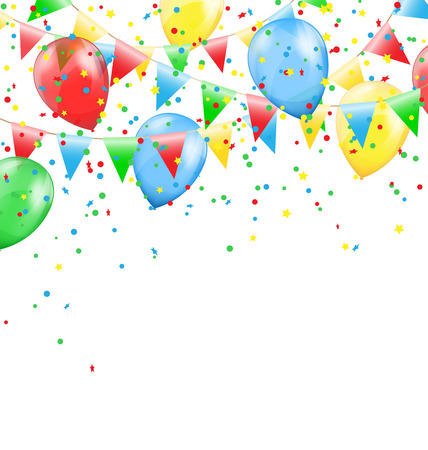 greet card: Multicolored bright buntings garlands with inflatable air balls and confetti  isolated on white background