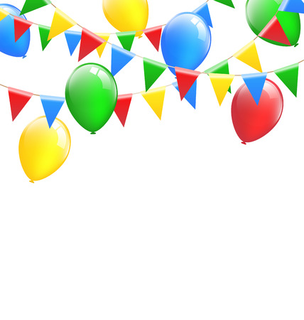greet card: Multicolored bright buntings garlands with inflatable air balls isolated on white background