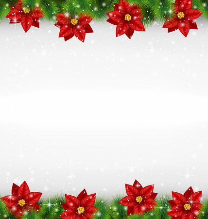 christmas fur tree: Shiny green pine branches like frame with flower of poinsettia in snowfall on grayscale background