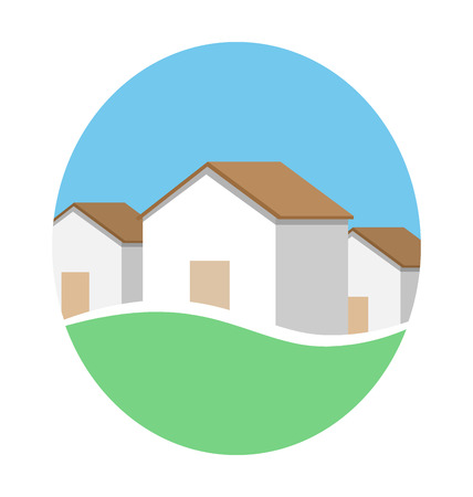 rural area: Emblem with houses in eco place isolated on white background