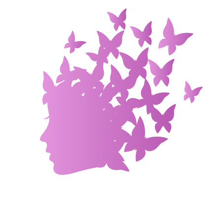 hairstylist: Icon with beauty woman profile with butterflies on grayscale background
