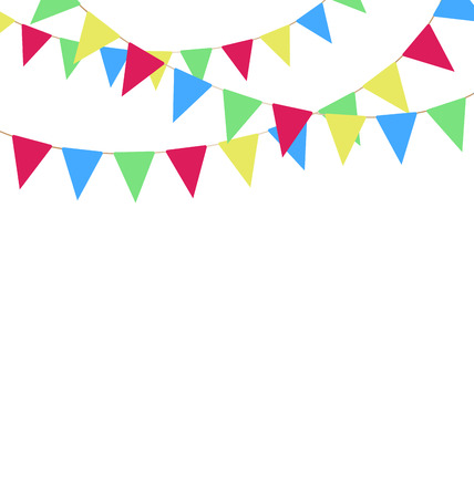 greet card: Multicolored bright buntings garlands isolated on white background Illustration