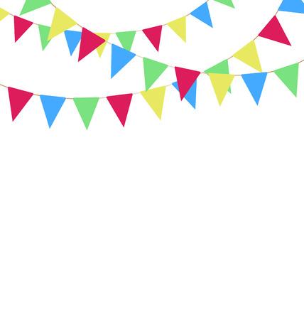Multicolores bruants vives guirlandes isolé sur fond blanc