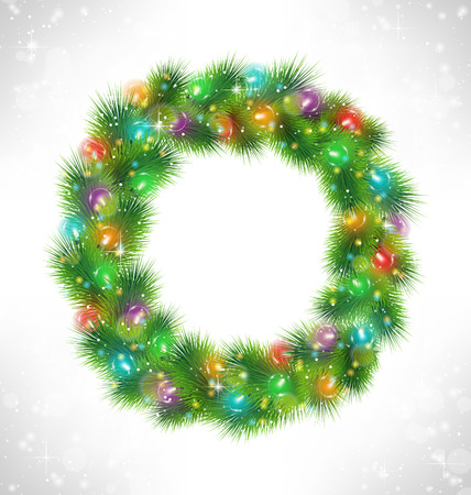 christmas fur tree: Christmas wreath with multicolored glassy led Christmas lights garland like frame in snowfall on grayscale background Illustration