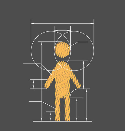 Drawing symbolized human resource isolated on gray background 일러스트