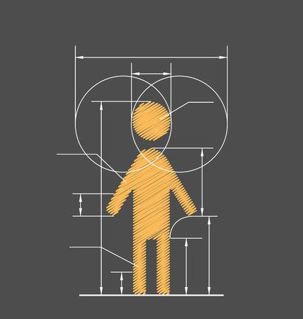 probation: Drawing symbolized human resource isolated on gray background Illustration