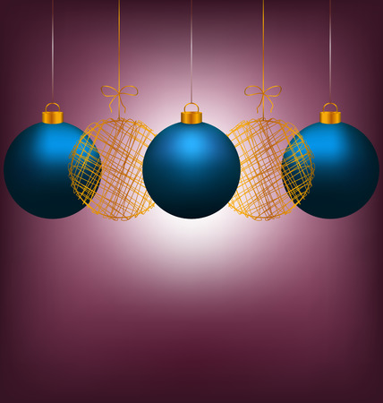 winter grilling: Tree blue and two golden netting Christmas balls with light on violet background Stock Photo
