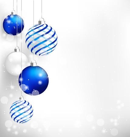 december background: Blue spiral christmas balls hang on white background