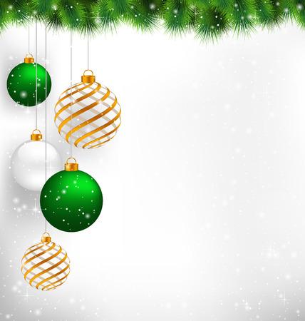 ゴールデン ・ スパイラルとグレースケールの背景に雪の松の枝に緑色のクリスマス ボール