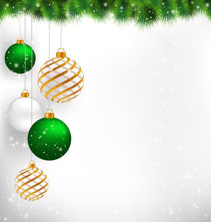 christmas balls: Golden spiral and green christmas balls with pine branches in snowfall on grayscale background