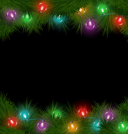 Multicolored led Christmas lights on pine branches isolated on black background
