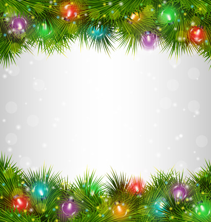 christmas lights: Multicolored Christmas lights on pine branches on grayscale background
