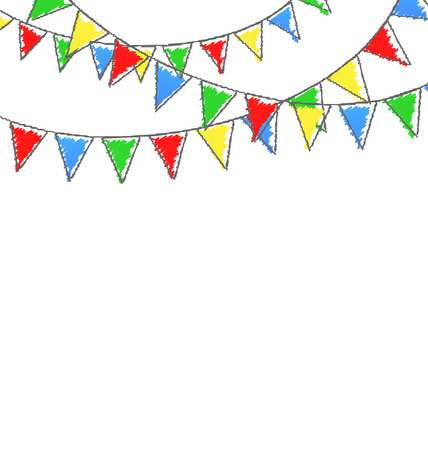 greet card: Multicolored bright hand-drawn buntings garlands isolated on white background Stock Photo