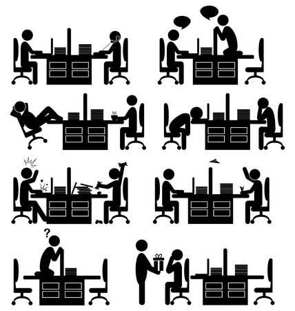 situation: Set of office situation flat icons isolated on white background