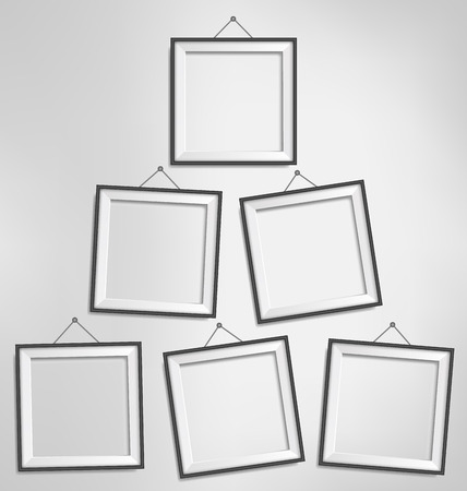 grayscale background: Six black modern blank frames isolated on grayscale background