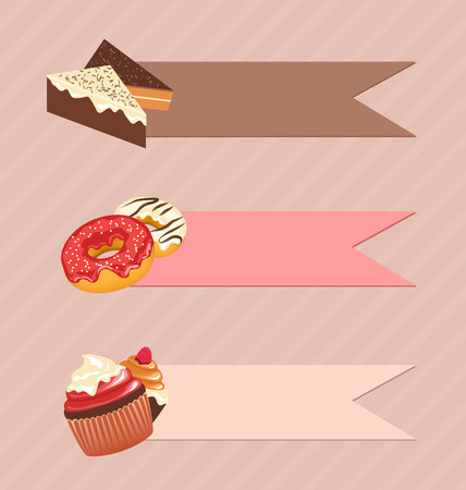 confectionery: Three frames with confectionery on beige background