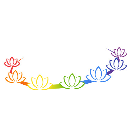 Yoga emblem with abstract chakra lotuses isolated on white background