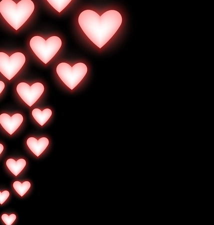 illuminator: Self-illuminated pink hearts on black background