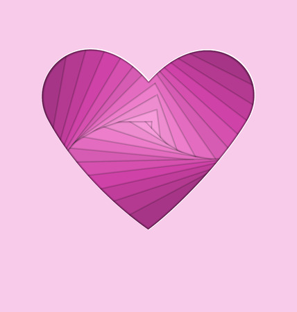 paper folding: hand-made paper folding heart isolated on violet background