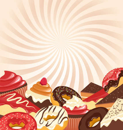 greet card: Sweets with radial stripes on beige background