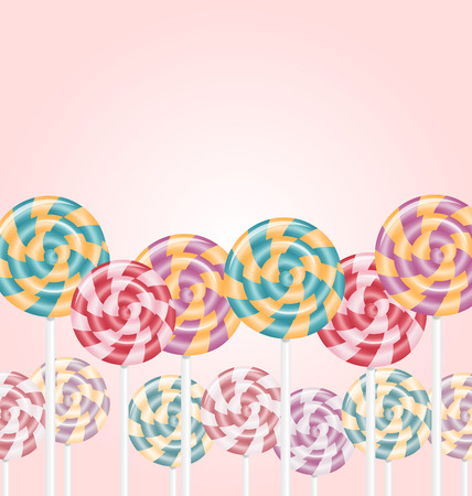 lick: Multicolored lollipops on pink background