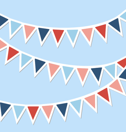 Set of multicolored flat buntings garlands isolated on blue background