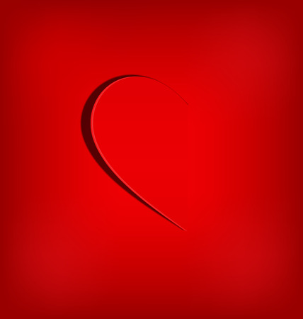 soul mate: One half of the heart on red background