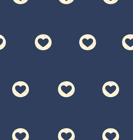 sentimental: Seamless pattern with heart isolated on blue background