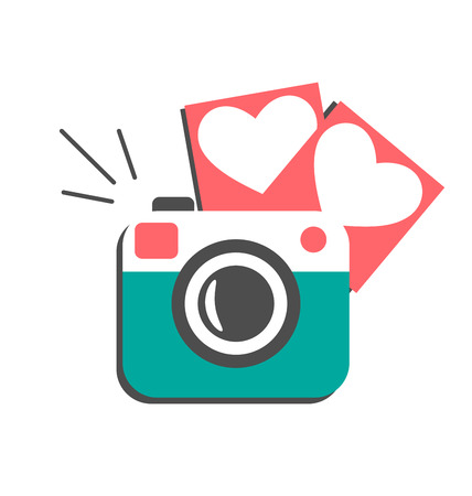 photography backdrop: Love flat photo camera with hearts photo frames isolated on white background