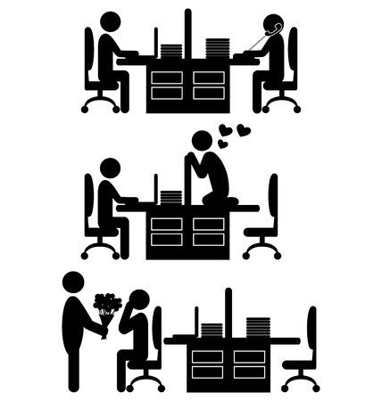 felling: Flat valentine`s day office icons isolated on white background Illustration