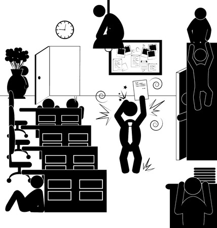 refuge: Flat office icons situation with angry boss and hiding workers isolated on white background
