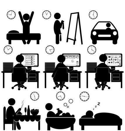 acquaintance: Set of flat situation icons with lazy worker isolated on white background
