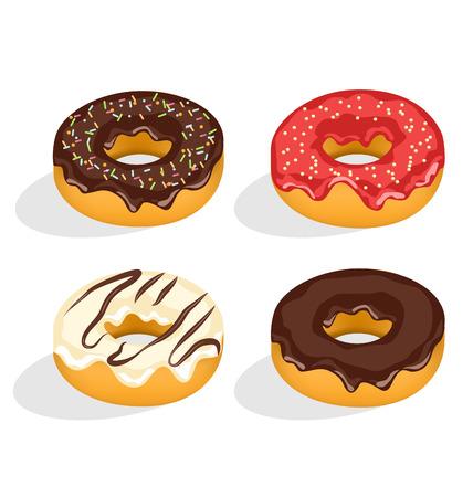 застекленный: Четыре пончики с застекленными, изолированных на белом фоне
