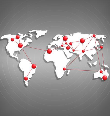 Wereldkaart met rode punt markeringen op grijswaarden achtergrond